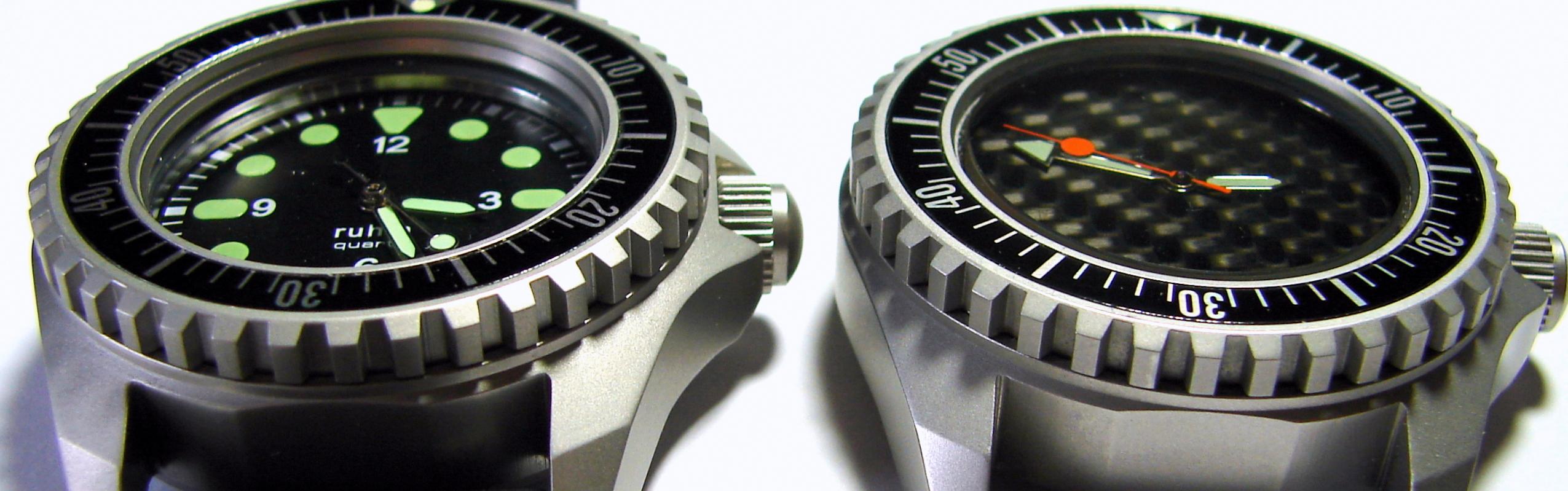 vergleich Replika I gegen LIPORIS Kampfschwimmeruhr mit spezial Doppelglas Design geschützt