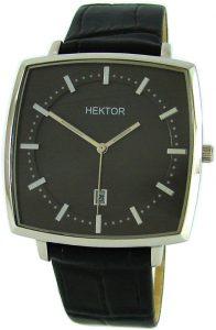 HEKTOR Monitor Herrenuhr Quarz Edelstahl Kissenform Lederband schwarz Datum