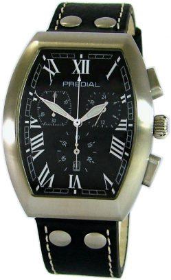 PREDIAL Tonneau Chronograph Herrenuhr Quarz Edelstahl Lederband schwarz