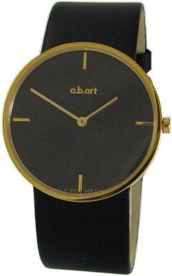 a.b.art swiss made Damen Armbanduhr Quarz Edelstahl gold schwarz Lederband D121