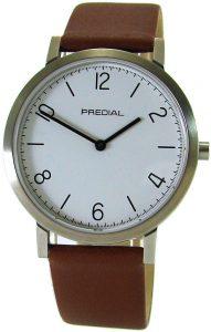elegante Predial Uhr mit weißem Zifferblatt und braunem Lederband