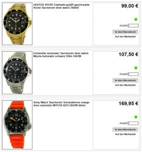 Abbildung des Liporis Uhren shop mit drei schönen Taucheruhren
