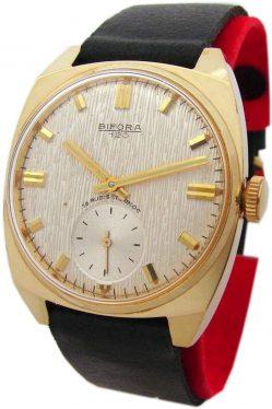 Bifora 120 Handaufzug Herrenuhr silber schwarz gold vintage mens watch 18 Rubis