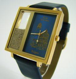 XL Armbanduhr Motiv Kap Arkona Leuchtturm Rügen Edelstahl 5ATM Quarz Leder blau