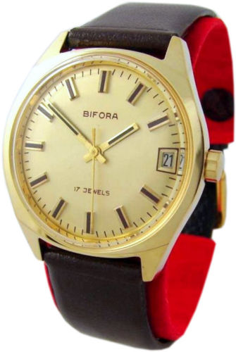 Bifora Made in German Handaufzug Herrenuhr gold braun Leder mens watch 17 Jewels
