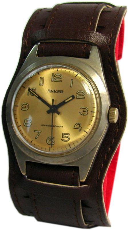 Anker-Handaufzug-Herrenuhr-braun-gold-silber-Unterlagen-Uhrband-vintage-mens-watch-35mm