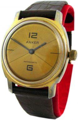 Anker mechanische Handaufzug Herrenuhr schwarz gold braun Leder rare mens watch