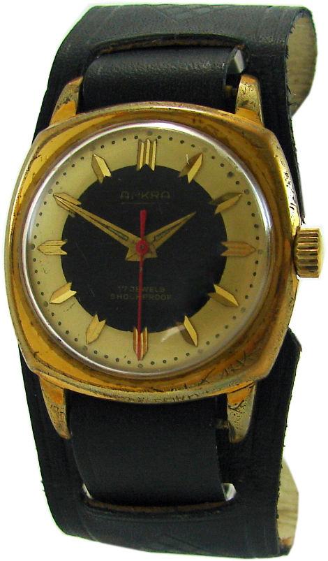 Ankra Handaufzug Herrenuhr schwarz gold weiß rot vintage mens watch 17Jewels