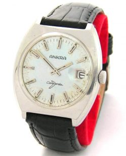 Ankra mechanische Handaufzug Herrenuhr Datum schwarz silber vintage mens watch