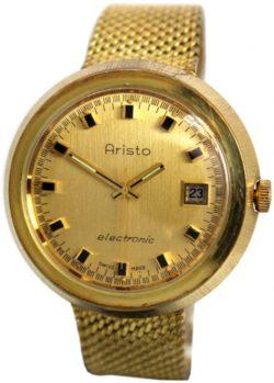 Aristo electronic vintage Herrenuhr Milanaiseband vergoldet mens watch