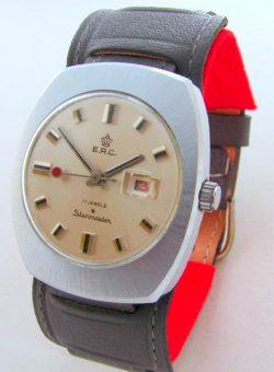 E.R.C. Starmaster Herrenuhr Datum mechanical hand winding mens watch 17Jewels