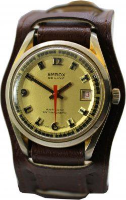 EMROX de luxe Handaufzug mechanische Herrenuhr mit Unterlagenband braun und Datum swiss made mechanical mens watch