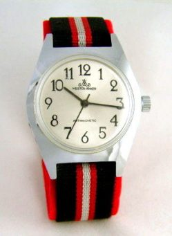 Meister Anker Herrenuhr rot silber schwarz UMF Export Kal. 24 vintage mens watch 173551723160