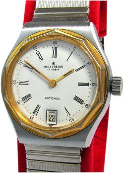 Milli Frerisi Handaufzug Herrenuhr silber weiß gold vintage mens watch 17 Rubis