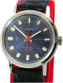 Orion Swiss Made Herrenuhr blau silber Lederband Handaufzug mechanic mens watch