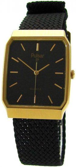 Pulsar flache elegante Quarz Herrenuhr schwarz gold classic design dress watch