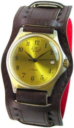 RE Watch Herrenuhr braun gold Handaufzug rare mechanic mens wristwatch 17 Rubis