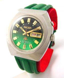 Ricoh Automatic Herrenuhr Tag Datum grün mens watch day date mechanical 21Jewels