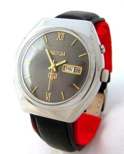 Ricoh Automatic Herrenuhr Tag Datum schwarz silber day date mens watch 21Jewels