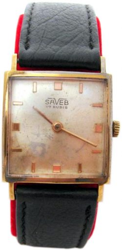 Saveb Carre mechanik Herrenuhr Lederband schwarz gold Carre mens watch 17Jewels