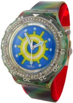 Swatch Reef Scuba Loomi Licht Uhr blau grün rare vintage watch swiss made 1997