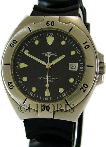 e861502bc0f6 Tempic Quartz Sport Herrenuhr Edelstahl Datum schwarz vintage design mens  watch
