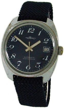 Tempic automatic Herrenuhr mit Datum Perlonband blau silber mens watch