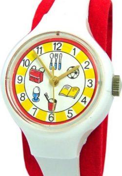 UMF Ruhla Germany Kinderuhr weiß rot gelb Kinder Armband kids watch Kaliber 24