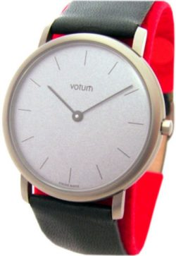 Votum kleine Herrenuhr grau Leder schwarz Saphirglas swiss made dress watch 33mm