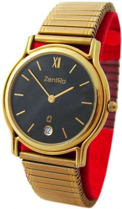 ZentRa Germany Herrenuhr schwarz gold mit Datum Zugband vintage mens watch