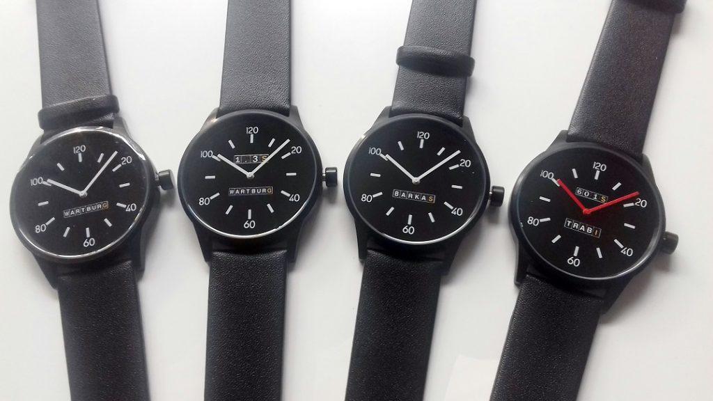4 schwarze Herrenuhren von Wartburg Uhren