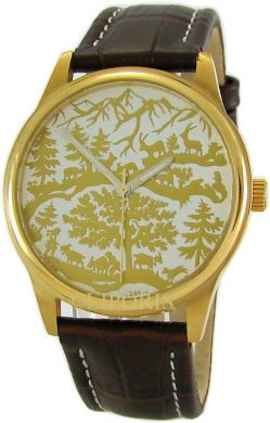 AureA swiss Herrenuhr 37mm Motiv Scherenschnitt gold Lederband braun scissor cuts paper cutting watch