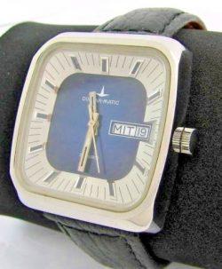 Dugena-Matic mechanische Herrenuhr Carre blau weiß Lederband schwarz 25 Rubis