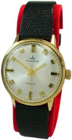 Dugena Tropica Handaufzug Herrenuhr silber schwarz gold mechanic mens watch