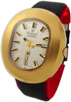 Exquisit Automatic XL Herrenuhr Lederband schwarz gold rare vintage mens watch