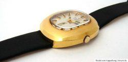 Exquisit Automatic XL Herrenuhr Oval Lederband Farben silber schwarz gold