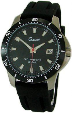 Garde Ruhla Sport Stahl Herrenuhr schwarz silber Silikon Seiko Quarz 20ATM