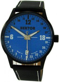 HEKTOR 24h Germany echte 24Stunden Uhr 24 hour watch Herrenuhr schwarz blau 42mm