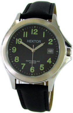 HEKTOR Arbeitsuhr Datum Edelstahl Leder schwarz Saphirglas Lumi tool watch day 10bar