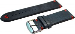 HEKTOR Herren Uhrenarmband blaues dickes Leder antik Optik Naht rot Anstoß 22mm