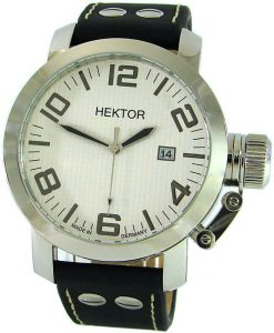 HEKTOR U Made in Germany XL Herrenuhr 45mm Leder Schraub Krone Datum 10bar