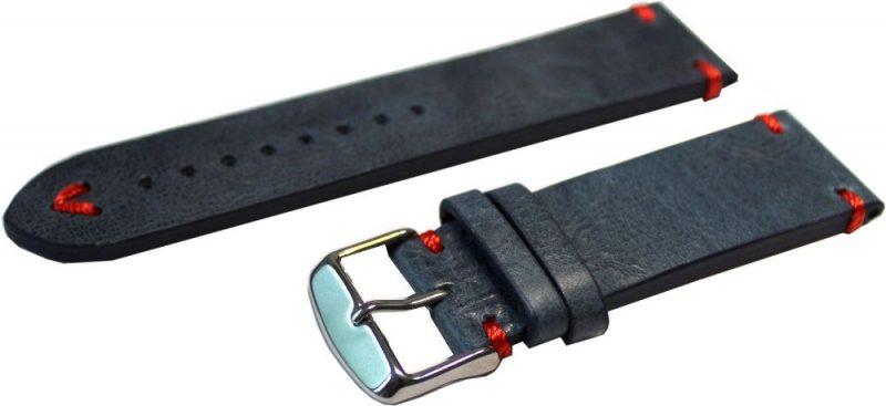 Hektor Uhrenarmband dickes Leder blau antik Optik Naht rot Uhrband 22mm