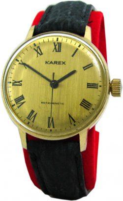 Karex Handaufzug Herrenuhr gold schwarzh römische Ziffern mechanical mens watch