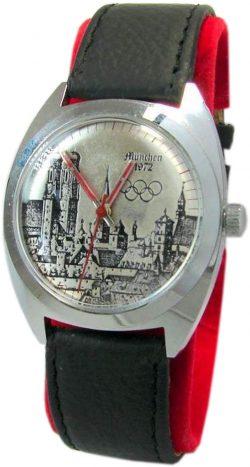 München 1972 Olympia Handaufzug Herrenuhr Lederband Munich Olympics mens watch