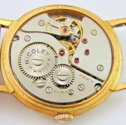Nicolet Watch swiss made mechanische Herrenuhr Lederband braun gold 17Rubis
