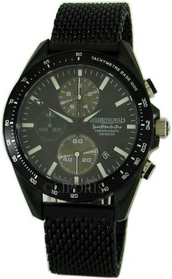 Riedenschild Herrenuhr schwarz Quarz Chronograph Saphirglas Milanaiseband 45mm