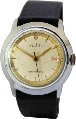 UMF Ruhla Germany Herrenuhr silber schwarz gold Lederband schwarz Datumsanzeige rot vintage mens watch