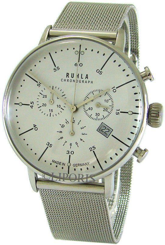 Ruhla Chronograph Garde Germany Edelstahl Milanaiseband Bauhaus Style mens watch