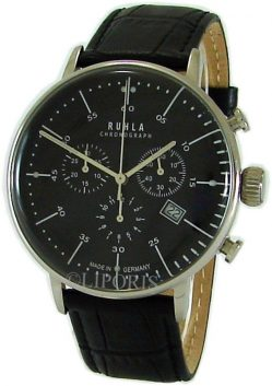 Ruhla Chronograph Herrenuhr mens watch Made in Germany Edelstahl Bauhaus Stil