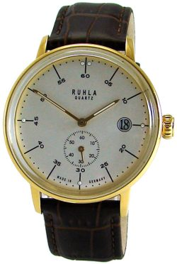 Ruhla Made in Germany classic Stil Bauhaus gold weiss braun Lederband Stahl 40mm